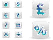 Currency and calculation icon set Stock Photo