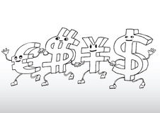 Currency cartoon. Illustration of international currency characters Stock Photos