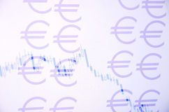 Currency chart. Eurusd chart on pc screen as background. Euro sign Stock Images