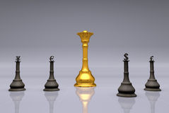 The Currency Chess Game. Concept of world finance system with gold as chess queen and currencies (dollar, euro, pound and yuan) as chess soldiers Royalty Free Stock Image