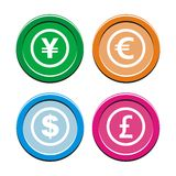 Currency circle icon sets Stock Photos