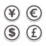 Currency circle sticker sets Stock Photos