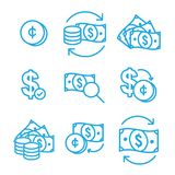 Currency Circulation / money exchange rate icon with dollar bill. Currency Circulation or money exchange rate icon w dollar bill royalty free illustration