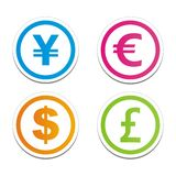 Currency cirlce stickers. Suitable for user interface Stock Photos