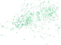 Currency Cloud. Cloud of small 3d dollar signs, isolated Stock Image