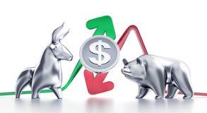 Bullish And Bearish Trends Of Dollar Royalty Free Stock Photography