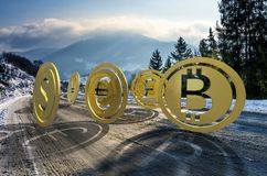 Currency coin race to the top. Cold winter mountain ascending trend. rolling uphill to high peaks at sunrise. demanding or bull market concept. composite image Stock Photography