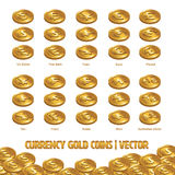 Currency Coins Gold illustration and  background Stock Photos