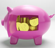 Currency Coins Piggy Shows Savings And Investment Royalty Free Stock Images