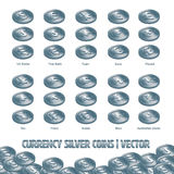 Currency Coins Silver illustration and  background Stock Photos