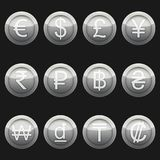 Currency coins symbols icons metallic silver with highlights set stock illustration