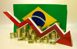 Currency collapse - Brazilian real. 3D finance graph - currency collapse - Brazilian real Royalty Free Stock Photography