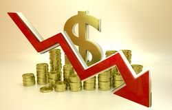 Currency collapse - dollar. 3D finance graph - currency collapse - dollar Stock Image