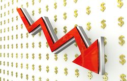 Currency collapse - dollar. 3D finance graph - currency collapse - dollar Royalty Free Stock Photo