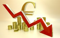 Currency collapse - euro. 3D finance graph - currency collapse - euro Stock Photography