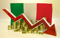 Currency collapse - Italian economy. 3D finance graph - currency collapse -  Italian economy Royalty Free Stock Image