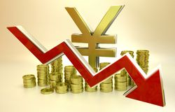 Currency collapse - Japanese Yen. 3D finance graph - currency collapse - Japanese Yen Royalty Free Stock Images
