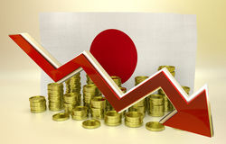 Currency collapse - Japanese Yen. 3D finance graph - currency collapse - Japanese Yen Royalty Free Stock Photo