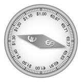 Currency compass. Compass showing dollar euro exchange rate Royalty Free Stock Photos