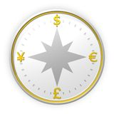 Currency compass background. 3D render of silver and golden currency compass - front view Royalty Free Stock Photography