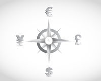 Currency compass guide illustration design. Over a white background Stock Image