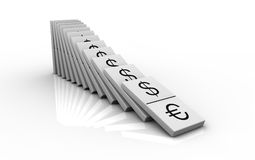 Currency concept. Domino pieces with currencies symbols instead of numbers (3d render Stock Photo