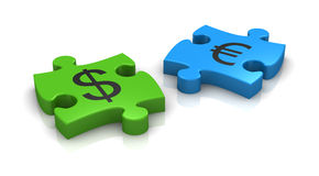 Currency concept. Puzzle pieces with the symbols of euro and dollar currency (3d render Royalty Free Stock Photo