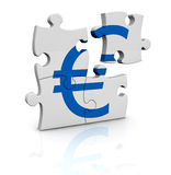 Currency concept. Puzzle pieces that form the symbol of euro currency (3d render Royalty Free Stock Photos