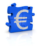 Currency concept. Puzzle pieces that form the symbol of euro currency (3d render Stock Photo
