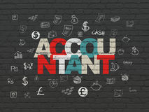 Currency concept: Accountant on wall background. Currency concept: Painted multicolor text Accountant on Black Brick wall background with  Hand Drawn Finance Royalty Free Stock Photography