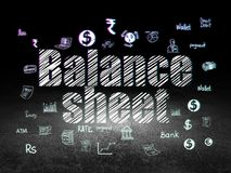 Currency concept: Balance Sheet in grunge dark room. Currency concept: Glowing text Balance Sheet,  Hand Drawn Finance Icons in grunge dark room with Dirty Floor Royalty Free Stock Photos