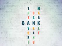 Currency concept: Bank in Crossword Puzzle. Currency concept: Painted blue word Bank in solving Crossword Puzzle on Digital Data Paper background Stock Photography