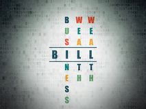 Currency concept: Bill in Crossword Puzzle. Currency concept: Painted blue word Bill in solving Crossword Puzzle on Digital Data Paper background Royalty Free Stock Image