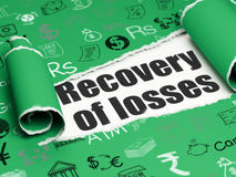 Currency concept: black text Recovery Of losses under the piece of  torn paper. Currency concept: black text Recovery Of losses under the curled piece of Green Stock Photography