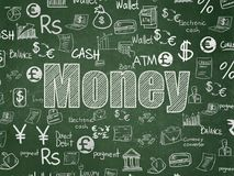 Currency concept: Money on School board background. Currency concept: Chalk White text Money on School board background with  Hand Drawn Finance Icons, School Royalty Free Stock Image