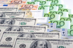 Currency Concept: Closeup of European and the US Hard Currencies Stock Image