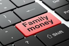 Currency concept: Family Money on computer keyboard background. Currency concept: computer keyboard with word Family Money, selected focus on enter button Royalty Free Stock Image