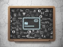 Currency concept: Credit Card on School board background. Currency concept: Chalk Blue Credit Card icon on School board background with  Hand Drawn Finance Icons Royalty Free Stock Images