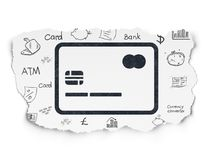 Currency concept: Credit Card on Torn Paper background. Currency concept: Painted black Credit Card icon on Torn Paper background with  Hand Drawn Finance Icons Royalty Free Stock Images