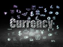 Currency concept: Currency in grunge dark room. Currency concept: Glowing text Currency,  Hand Drawn Finance Icons in grunge dark room with Dirty Floor, black Stock Photos