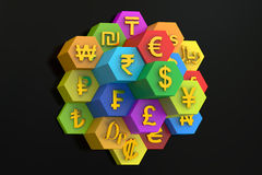 Currency concept, 3D rendering Royalty Free Stock Images