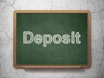 Currency concept: Deposit on chalkboard background. Currency concept: text Deposit on Green chalkboard on grunge wall background, 3D rendering Stock Images