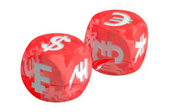 Currency concept, dices with currencies. 3D rendering Stock Photos