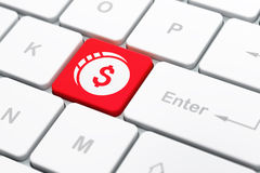 Currency concept: Dollar Coin on computer keyboard background Royalty Free Stock Photo