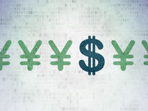 Currency concept: dollar icon on Digital Paper. Currency concept: row of Painted green yen icons around blue dollar icon on Digital Paper background, 3d render Royalty Free Stock Images