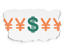 Currency concept: dollar icon on Torn Paper Stock Photos