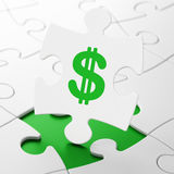 Currency concept: Dollar on puzzle background Royalty Free Stock Photos