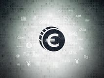 Currency concept: Euro Coin on Digital Data Paper background. Currency concept: Painted black Euro Coin icon on Digital Data Paper background with  Hand Drawn Stock Photos