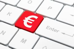 Currency concept: Euro on computer keyboard background Royalty Free Stock Images