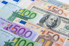 Currency Concept: European and the US Hard Currencies Together Stock Photography